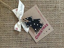 Christmas Tree Wooden Hanging Merry Xmas Sign Shabby Chic Gift Tag East of India