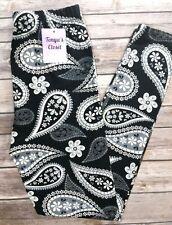 Black White Paisley Leggings Bold Printed Paisley One Size OS
