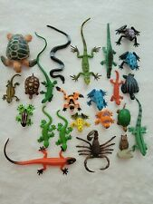 Mixed Toy Animal Reptile Amphibian Lot Lizard Turtle Snake Frog + More
