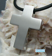Herren Kreuz Anhänger silber matt+Edelstahl PU Halsband Halskette klassisch