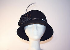 Women's Black Wool Bucket Hat with Rose and Feather