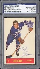 1957-58 Parkhurst #5 Tod Sloan Short Print Autographed/Signed PSA/DNA Authentic