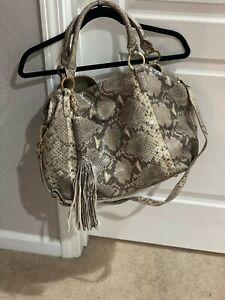 G.I.L.I. Handbag Roma- Used Gray & Cream Snake Leather with Detachable Straps