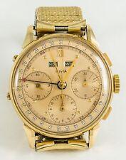 Vintage Men's Swiss Solid 14K Gold Square Pushers Chronograph Wristwatch Runs