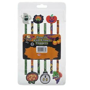 6 HALLOWEEN PENCILS Party Bag Fillers Kids Spooky Trick or Treat Goodies Haunted