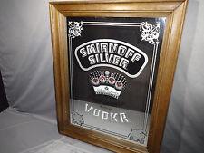 """Vintage 1978 SMIRNOFF SILVER VODKA Large MIRROR SIGN Framed 22.5"""" × 28.8"""""""