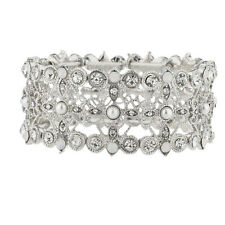 Lux Accessories Silver Tone Crystal White Opal Pearl Filigree Stretch Bracelet