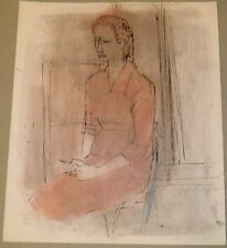 Sitting Woman in Pink Dress Mixed Media Drawing-c. 1960s- August Mosca