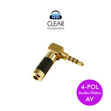 MINI-KLINKENSTECKER WINKEL  3,5mm AV 4 POL - JACK-PLUG-CARBON-VERGOLDET-HIGHEND