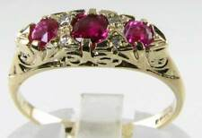 SUPERIOR QUALITY 9K 9CT GOLD AAA RUBY & DIAMOND ETERNITY RING FREE RESIZE
