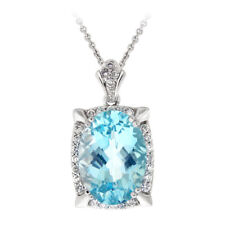 7.75 Carat Blue Topaz & CZ Oval Necklace in Brass