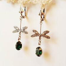 Swarovski Emerald dragonfly silver drop earrings leverback