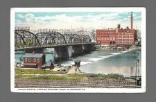LEHIGH BRIDGE,LOOKING TOWARDS ALLENTOWN PENNSYLVANIA-1922 LINEN POSTCARD USED VF