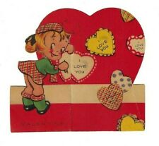 Vintage 1940's Valentine Card Wwii Era - Scotch Girl Fold Out Message - Signed