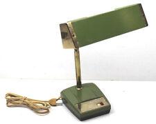 Vintage 1950's Tachii Flexible Neck Desk Lamp Avocado Metal Base Brass Plated