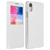 Smart view window flip case for Apple iPhone XR, slim cover - White