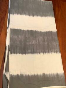 Pottery Barn Kids Full Queen Coastal White Gray Tie Dye Duvet Cover NEW