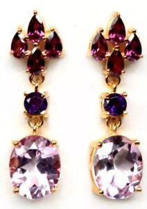 New Natural Pink Mystic Topaz Amethyst Rhodolite 925 Silver Earrings Gemstone
