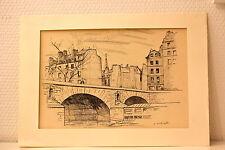 Superbe gravure de Gérard AMBROSELLI. Paris, ponts et quais. Ile St Louis? Cité?