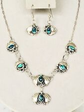 Silver Necklace Set #S7 Native American Navajo Abalone Sterling