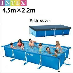 F/S INTEX Rectangular Frame Pool 4.5m×2.2m×84cm House garden With cover