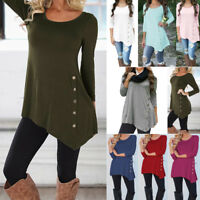 Plus Size S-6XL Womens Loose Long Sleeve Irregular Top Button T-Shirt Blouse
