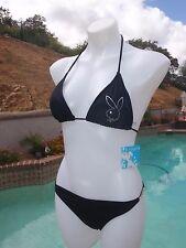 NWT Playboy women's medium sexy black 2-piece thong bikini swimsuit padded