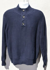 FAT FACE Mens Size L Navy 3 Buttoned 1/4 Neck Thick Knit Jumper Sweater