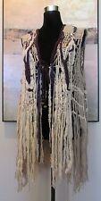 VTG Hippie Macrame Masterpiece Hand Made Vest Spun Wool Crochet Beaded & Fringed