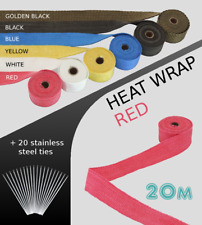 UNIVERSAL CAR BIKE EXHAUST HEAT WRAP with ties-20 METRE RED 20M-RED-MZD1
