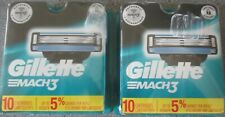 GENUINE GILLETTE MACH3 Refill Blades 2 X 10 = 20 Cartridges TOTAL, Brand New