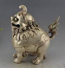 China Tibet Buddhism Fane Silver Carved Dogs Lions Incense Burner Statue