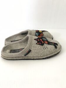 HAFLINGER Sassy Black Cat Gray Wool Slippers House Shoes Womens Size 38 US 7