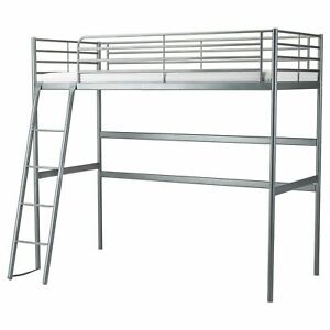 Used Ikea Svarta bunk bed Loft bed frame, single size,  no mattress, with table