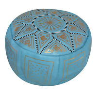 Pouf Moroccan Hassock Pooff Leather Pouff Ottoman Footstool Medium Light Blue