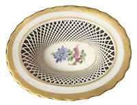 Antique VON SCHIERHOLZ Porcelain Reticulated Floral Basket w/Gold Trim ~ Germany