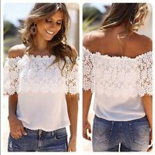 Womens Bardot Crochet Tops Lace Off Shoulder Blouse Bandeau Tee Shirt Supply C