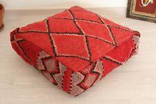 Floor Pillow Handmade Moroccan vintage berber rug 100% wool Ottoman floor Pouf