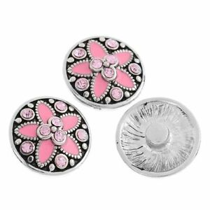 Noosa Chunks Ginger Style Snap Button Charms Pink Star Rhinestones 20mm