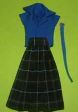 Blue & brown Shirt  Dress For Barbie Vintage Doll Reproduction Repro, ooak,new
