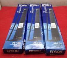 Lot of 3 Genuine Epson 8755 Ribbon FX 100 100+ 1000 LX 1050 Action Printer 2500