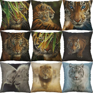 Tiger Printing tiger cotton linen pillow Case cover Sofa Waist Home Decor