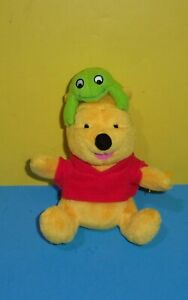 """Mattel Fisher Price Star Bean 7"""" Winnie the Pooh Plush Bear with Frog on Head"""