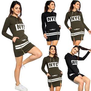 Womens NYC Hoodie Dress  Ladies Casual Long Sleeve Sweatshirt Midi Dress