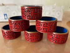 6 x Antigue Original Cinnabar lacquer napkin ring RARE Flower (red/Black)