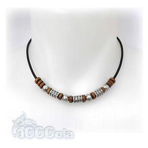 New Style Collier Exclusifs Homme/Femme fil Cuir véritable+perles en métat, bois