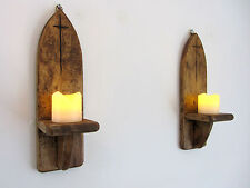 PAIR OF 29CM RECLAIMED PALLET WOOD GOTHIC ARCH  WALL SCONCE LED CANDLE  HOLDER