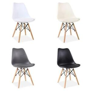 4pcs Padded Effiel Dining Chairs Faux Leather Upholstered Seat Cross Metal Frame
