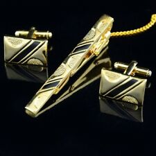 Gold & Black Cufflinks and Tie Clip Set in Gift Bag Formal Business Dress Pro