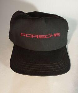 Porsche Red Script Logo Vintage USA Made Black Cap Trucker Hat